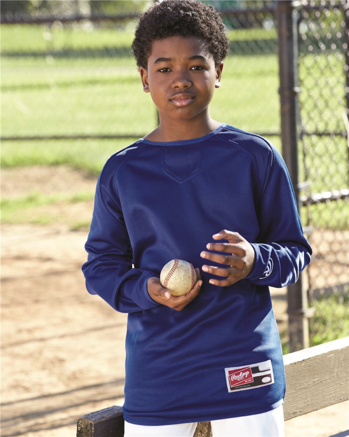 6705 Rawlings - Youth Long Sleeve Flatback Mesh Fleece Pullover
