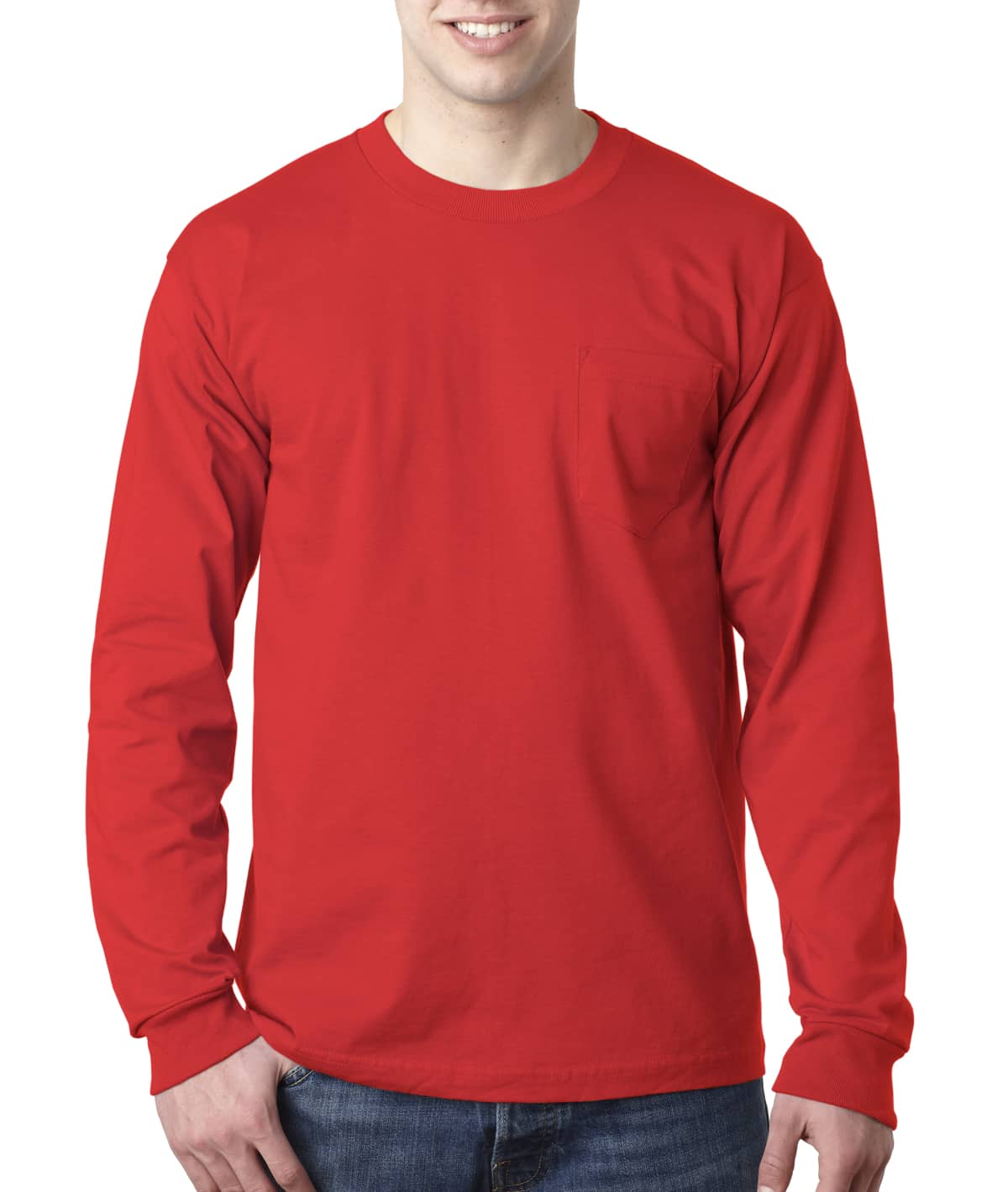 8100 Bayside Made in the USA Long Sleeve Tee with Pocket