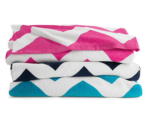 C3060X Carmel Towel Company - Chevron Velour Beach Towel