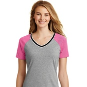 DT276 District Juniors Mesh Sleeve V-Neck Tee