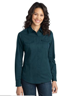 L649 Port Authority Ladies Stain-Resistant Roll Sleeve Twill Shirt