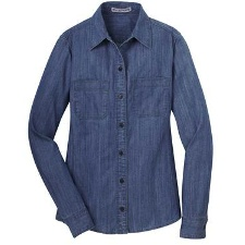 L652 Port Authority Ladies Patch Pockets Denim Shirt