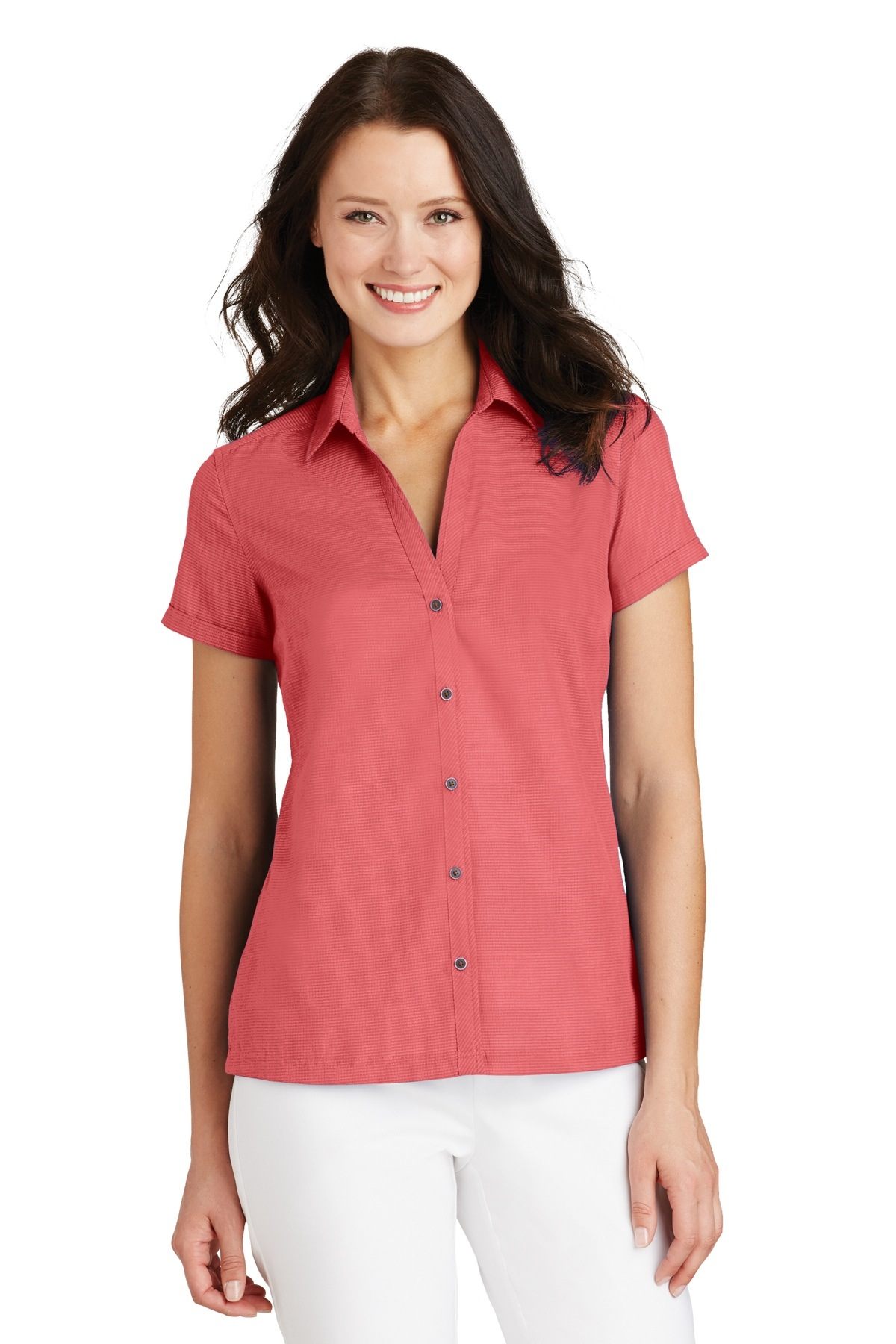 L662 Port Authority® Ladies Textured Camp Shirt