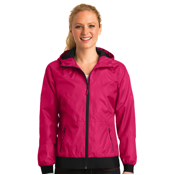 LST53 Sport-Tek® Ladies Embossed Hooded Wind Jacket
