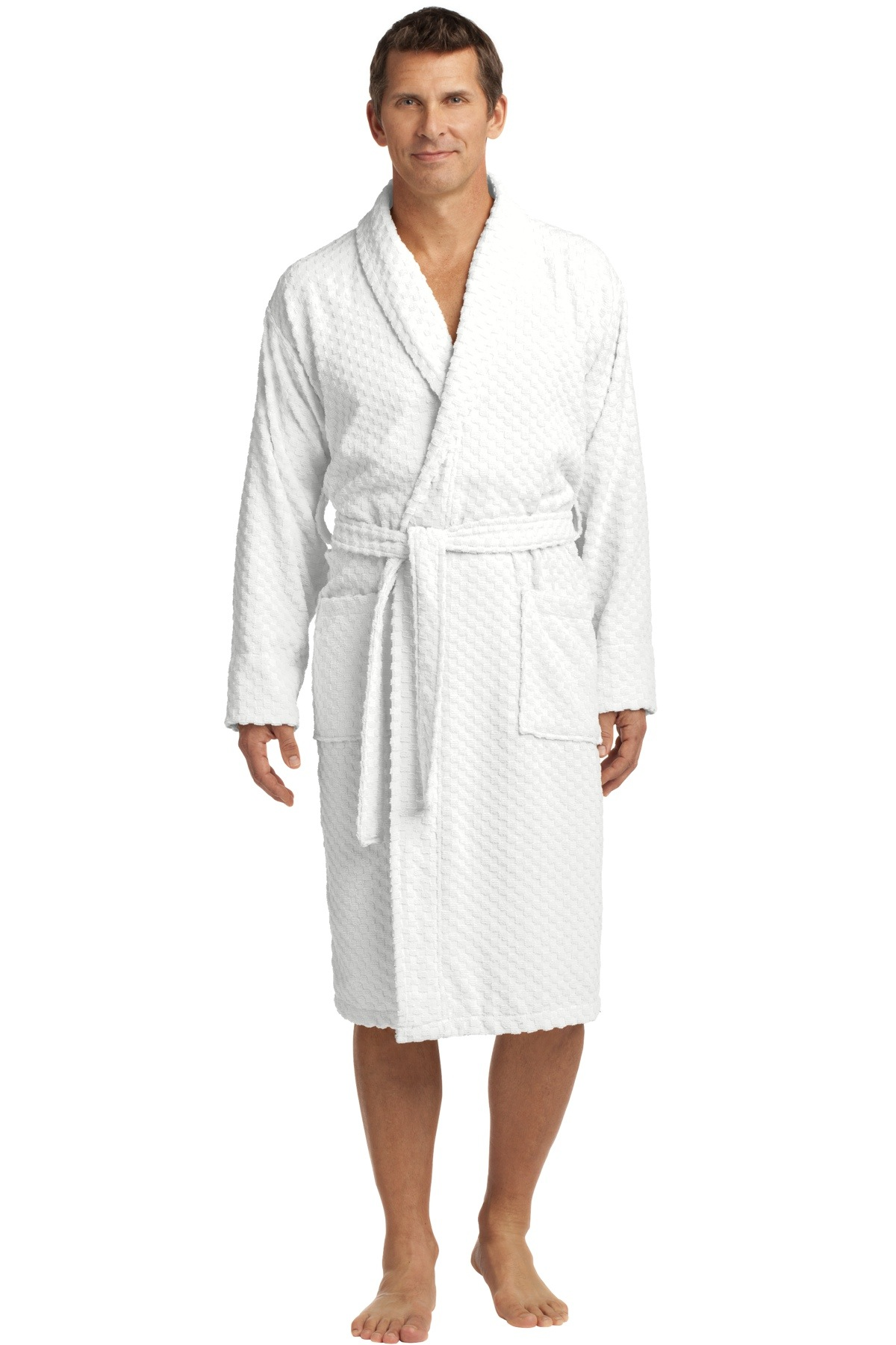 R103 Port Authority Checkered Terry Shawl Collar Robe