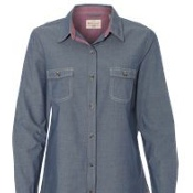 W154885 Weatherproof Vintage Women's Chambray Long Sleeve Shirt
