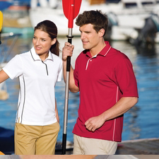 K467 Sport-Tek® - Dri-Mesh® Sport Shirt with Striped Collar