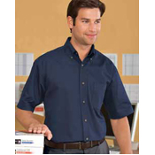 M500S Harriton Men's Short Sleeve Twill with stain release.
