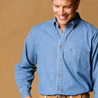 m550 Harriton Mens Long Sleeve Denim