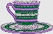 striped tea cup embroidered design