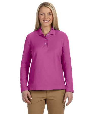 D110W Devon and Jones Ladies' Long Sleeve Pima Pique Polo