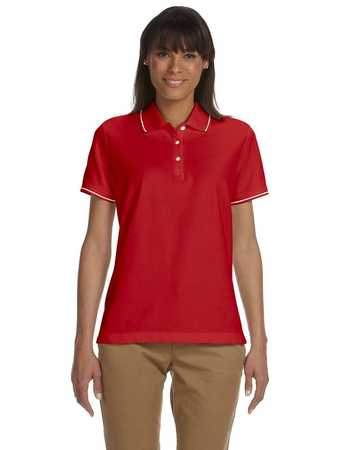 d113W Devon & Jones Ladies' Pima Piqué Short-Sleeve Tipped Polo