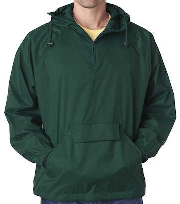 8925 Ultra Club Adult 1/4 Zip Hooded Pullover Pack-Away Jacket