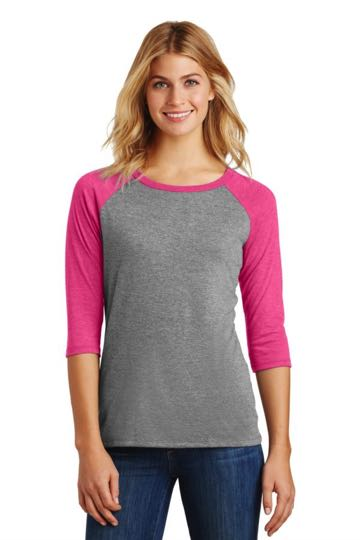 DM136L District Made® Ladies Perfect Tri™ 3/4-Sleeve Raglan