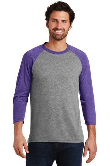 DM136 District Made® Mens Perfect Tri™ 3/4-Sleeve Raglan