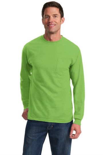 PC61LSP Port & Company 100% Cotton Long Sleeve T-Shirt with Pocket