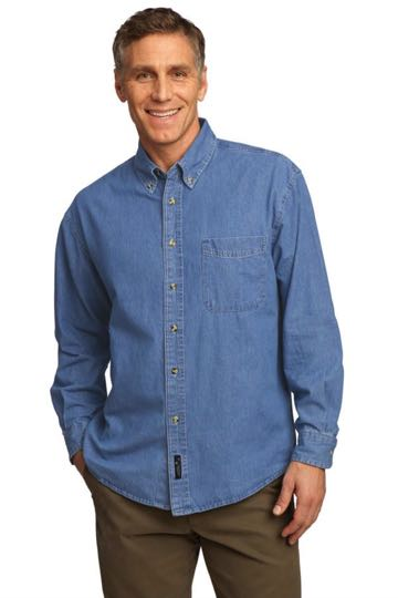 SP10 Men's Long Sleeve Port Authority Value Denim