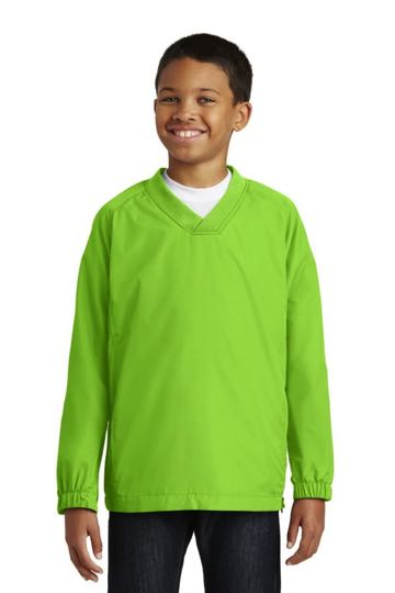 yst72 Sport-Tek® - Youth V-Neck Raglan Wind Shirt