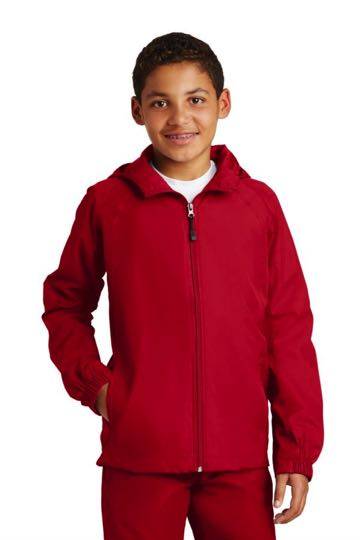 yst73 Youth Hooded Raglan Jacket